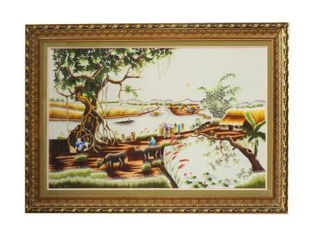 tranh thêu đồng quê - tranh thêu tnc