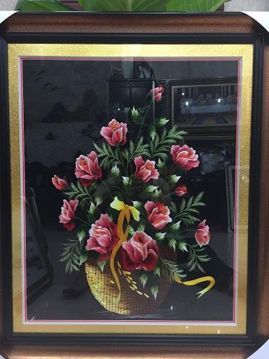 Tranh thêu hoa hồng tnc0626