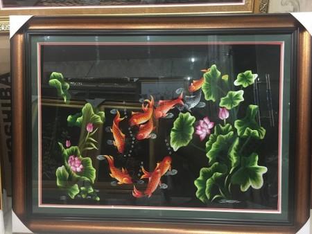 Tranh thêu Cửu ngư quần hội tnc0204