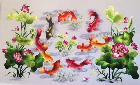 Tranh thêu Cửu ngư quần hội tnc0206