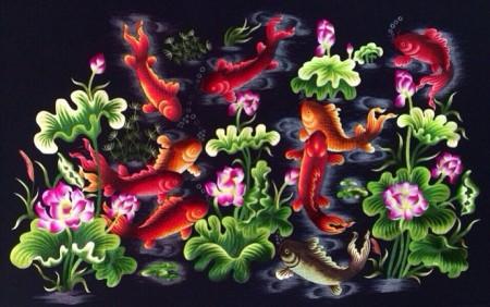 Tranh thêu Cửu ngư quần hội tnc0207