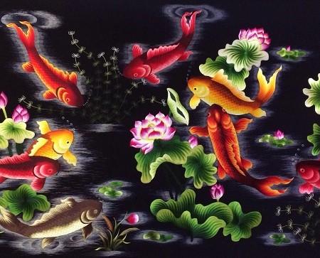 Tranh thêu Cửu ngư quần hội tnc0208