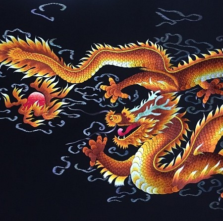 Tranh thêu rồng vàng tnc1013