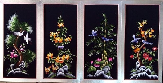tranh thêu tư quý tnc1903