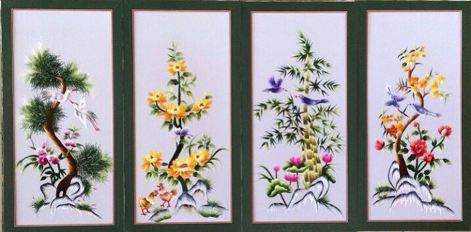 tranh thêu tứ quý tnc1905