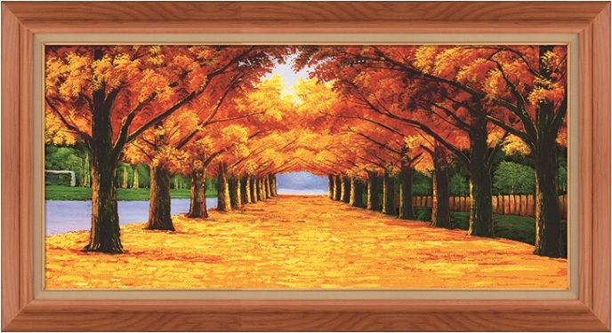 Tranh phong cảnh con đường mùa thu