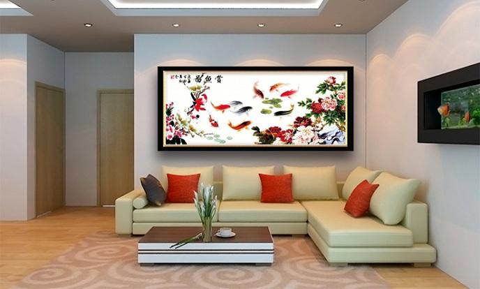 tranh thêu trang trí phòng khách