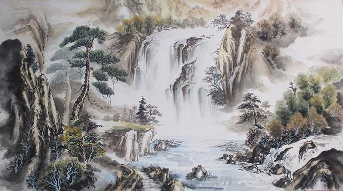 Tranh sơn thủy được họa tác tỉ mỉ và tinh tế