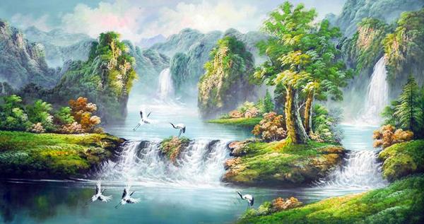 Tranh sơn thủy đẹp lộng lẫy
