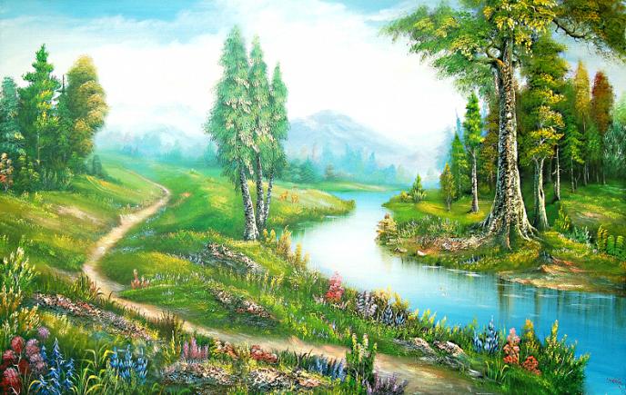 Dòng sông êm đềm nhẹ nhàng trôi