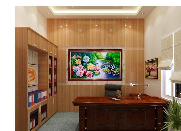 Tranh thêu trang trí phòng làm việc thêm sang trọng và cao cấp