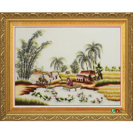 tranh thêu Quê Hương Hữu Tình tnc0500