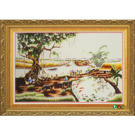 tranh thêu Quê Hương Hữu Tình tnc0501-z