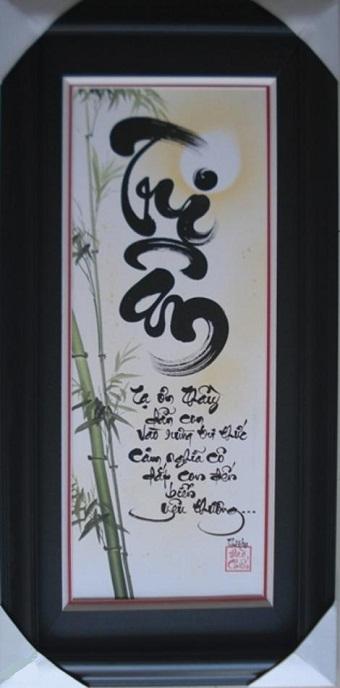 Tranh thêu tay chữ Tri Ân