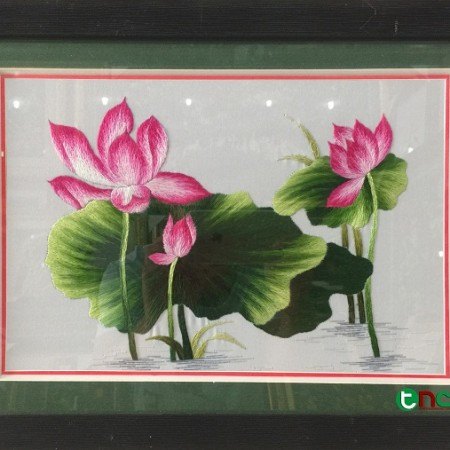 tranh thêu Hoa Sen tnc0606