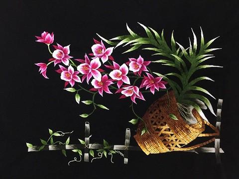 tranh thêu tay hoa lan