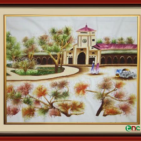 Tranh thêu Phong Cảnh Chợ Bến Thành tnc1200