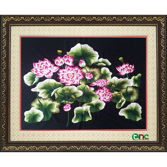 tranh thêu Hoa Sen tnc0612