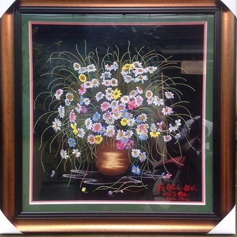 Tranh thêu Trăm hoa đua nở tnc0619
