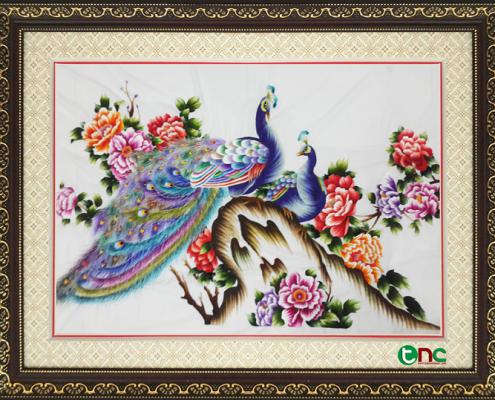 Chim Công và Hoa Mẫu Đơn