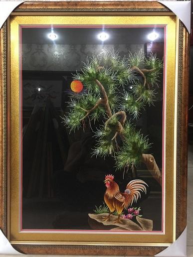 tranh thêu con gà trống tnc1104