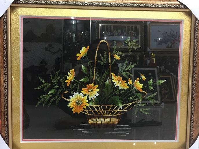 Mẫu tranh thêu tay hoa lan tnc0622