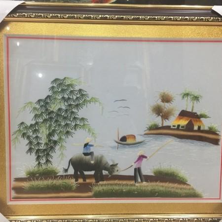 Tranh thêu đồng quê tnc0708