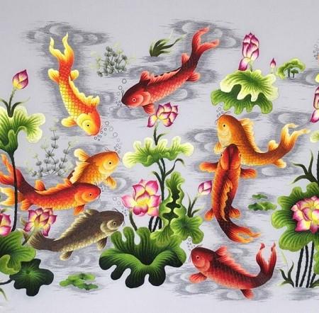 Tranh thêu Cửu ngư quần hội tnc0205