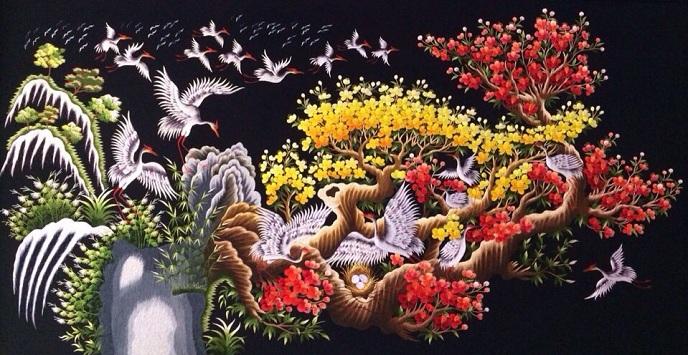 Tranh thêu Hạc Đào Mai tnc0311