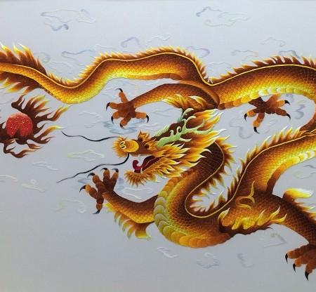 Tranh thêu rồng vàng tnc1014