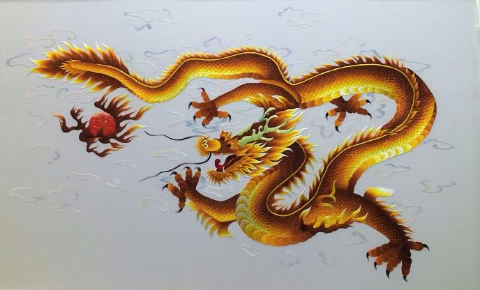 Mẫu tranh thêu rồng vàng tuyệt đẹp