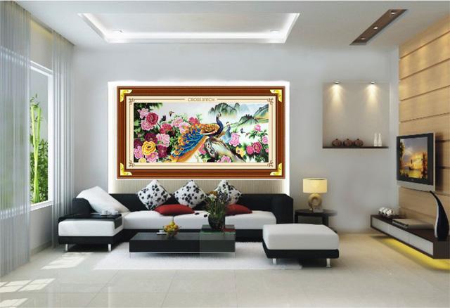 tranh thêu tay trang trí phòng khách