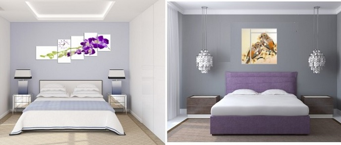 Mỗi một bức tranh lại giúp phòng ngủ thêm đặc sắc hơn