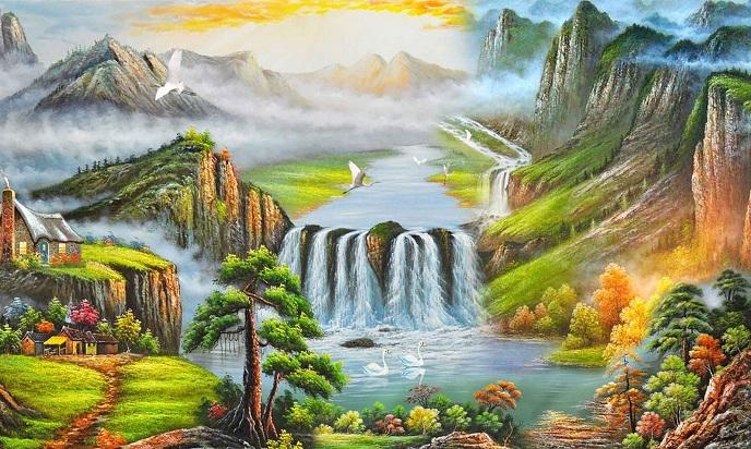 Tranh sơn thủy tuyệt đẹp là món quà mừng cao cấp