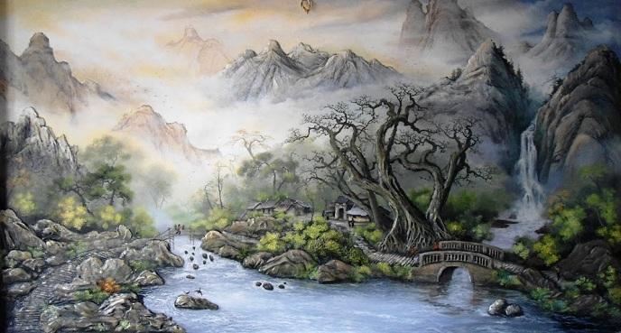 Làn sương mờ ảo càng tôn vinh hơn vẻ đẹp của tranh