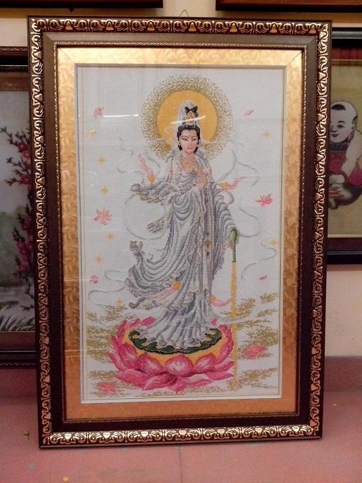 Bức tranh thêu tôn giáo tuyệt đẹp dùng trang trí phòng khách