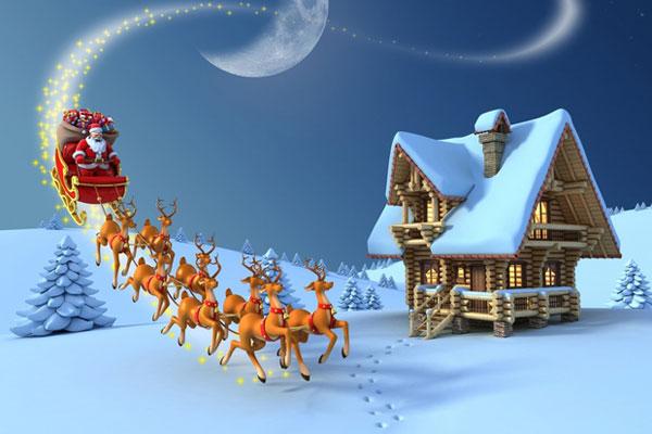 Ông Già Noel cưỡi tuần lộc tặng quà cho trẻ em