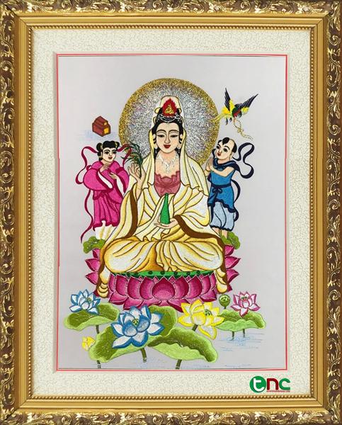 tranh thêu Phật Bà Quan Thế Âm tnc2100