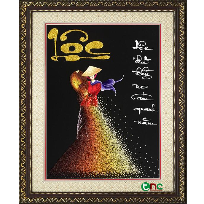 tranh thêu Cô Gái Phơi Lúa tnc1018