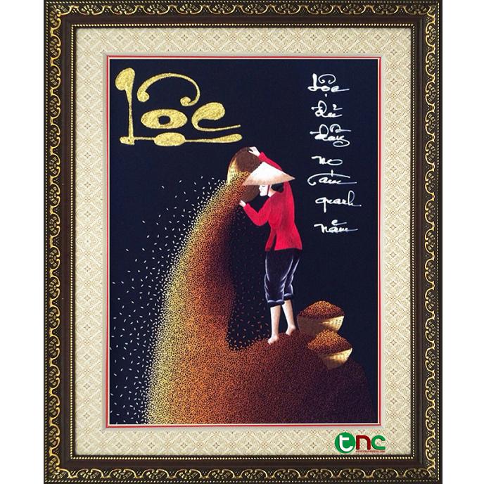 tranh thêu Cô Gái Phơi Lúa tnc1019