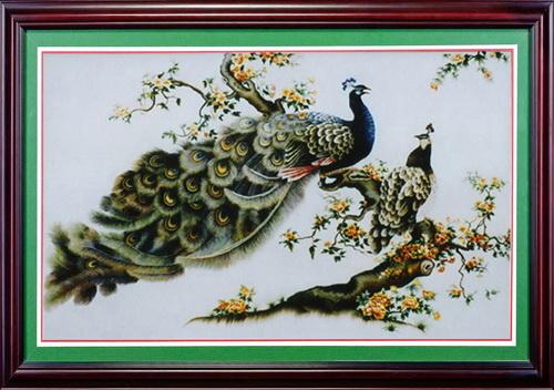 Tranh thêu Chim Công tnc05