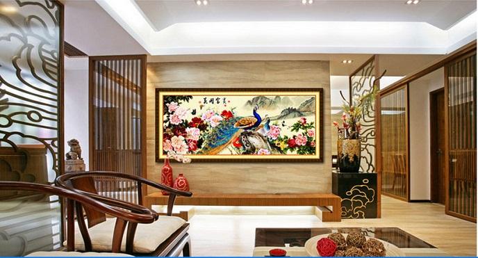 Tranh thêu Chim Công tnc02