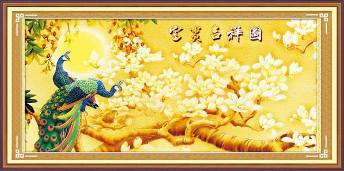 tranh thêu Chim Công tnc015