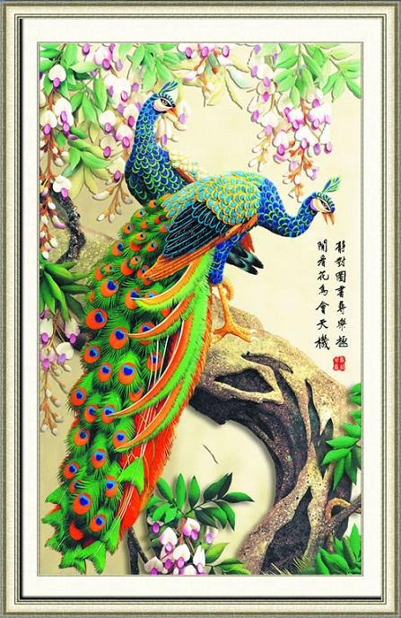 Tranh thêu Chim Công tnc017