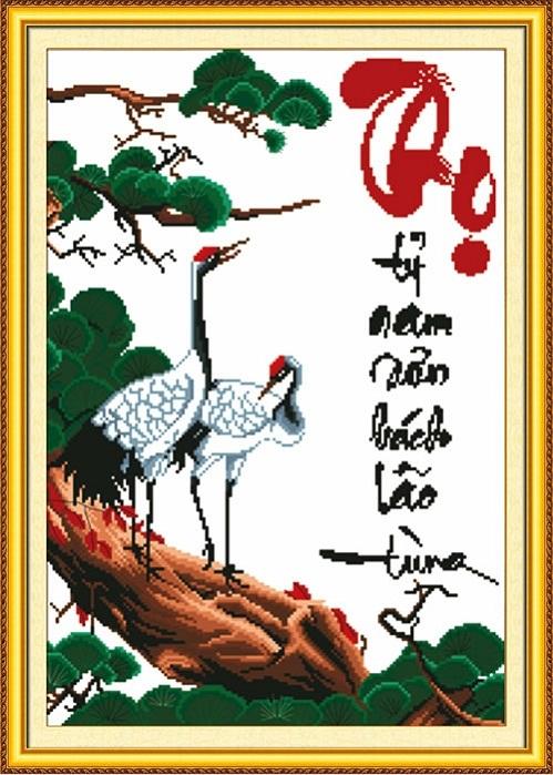 tranh thêu Chữ Thọ tnc09