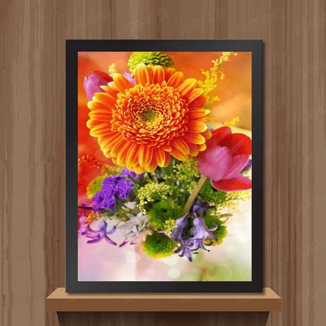 tranh thêu Hoa Cúc tnc04