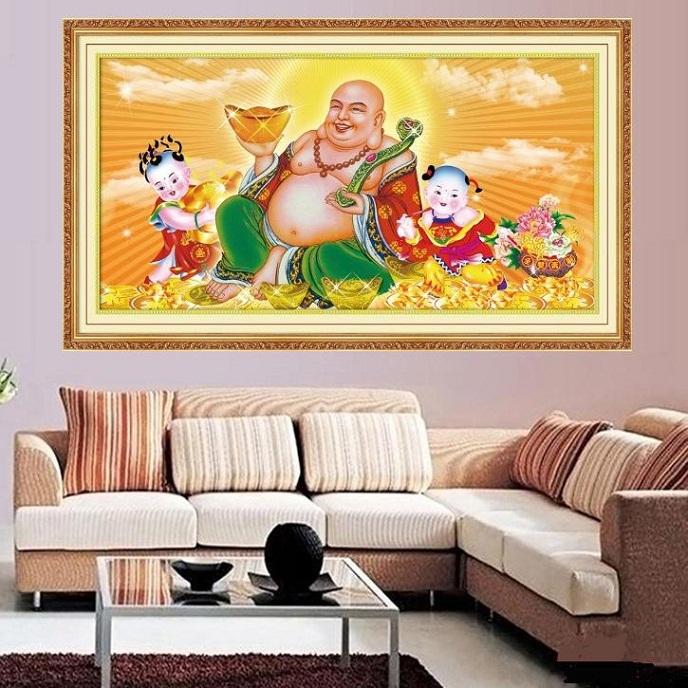tranh thêu Phật Di Lặc tnc08