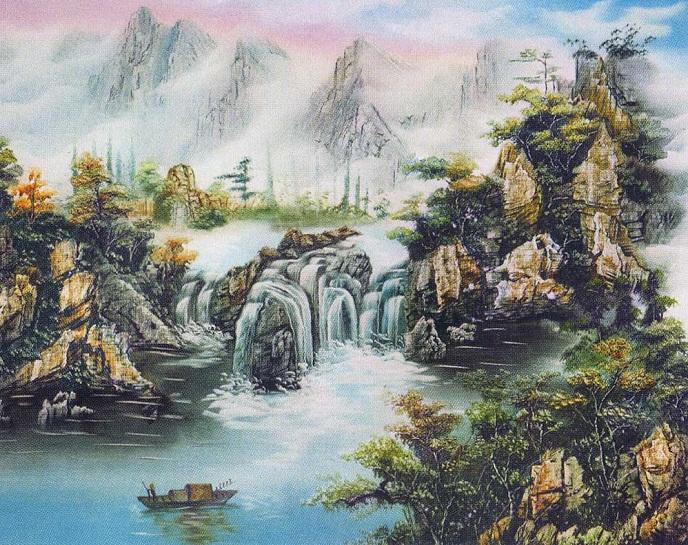 tranh thêu sơn thủy hữu tình