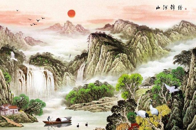 Tranh thêu Sơn Thủy Hữu Tình tnc05
