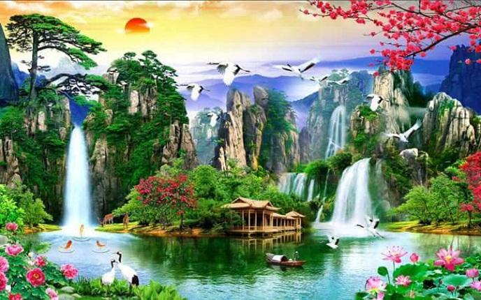 Tranh thêu Sơn Thủy Hữu Tình tnc09